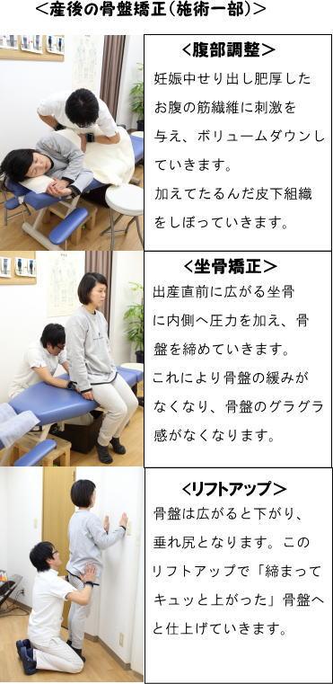 産後の骨盤矯正の施術の流れ